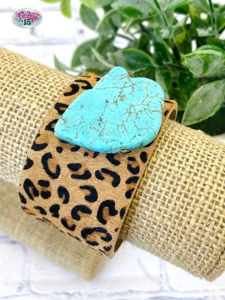 Animal Print & Turquoise Cuff