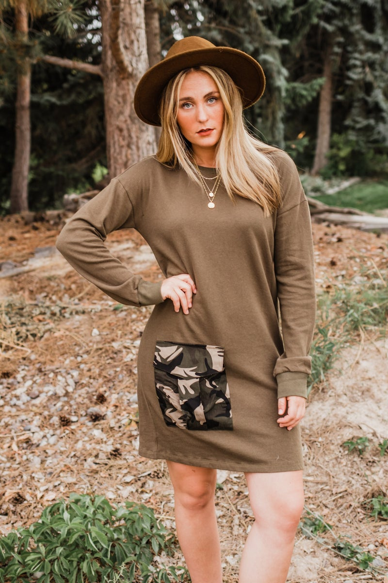 Olive Tunic w/ Camo Pocket