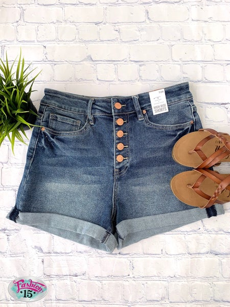 Button Fly High Rise Shorts