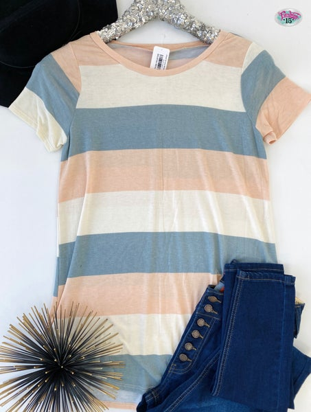 ~.Peach & Ivory Striped Top