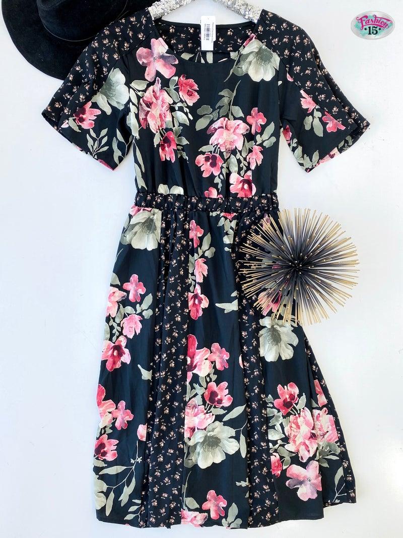 Black & Pink Floral Dress