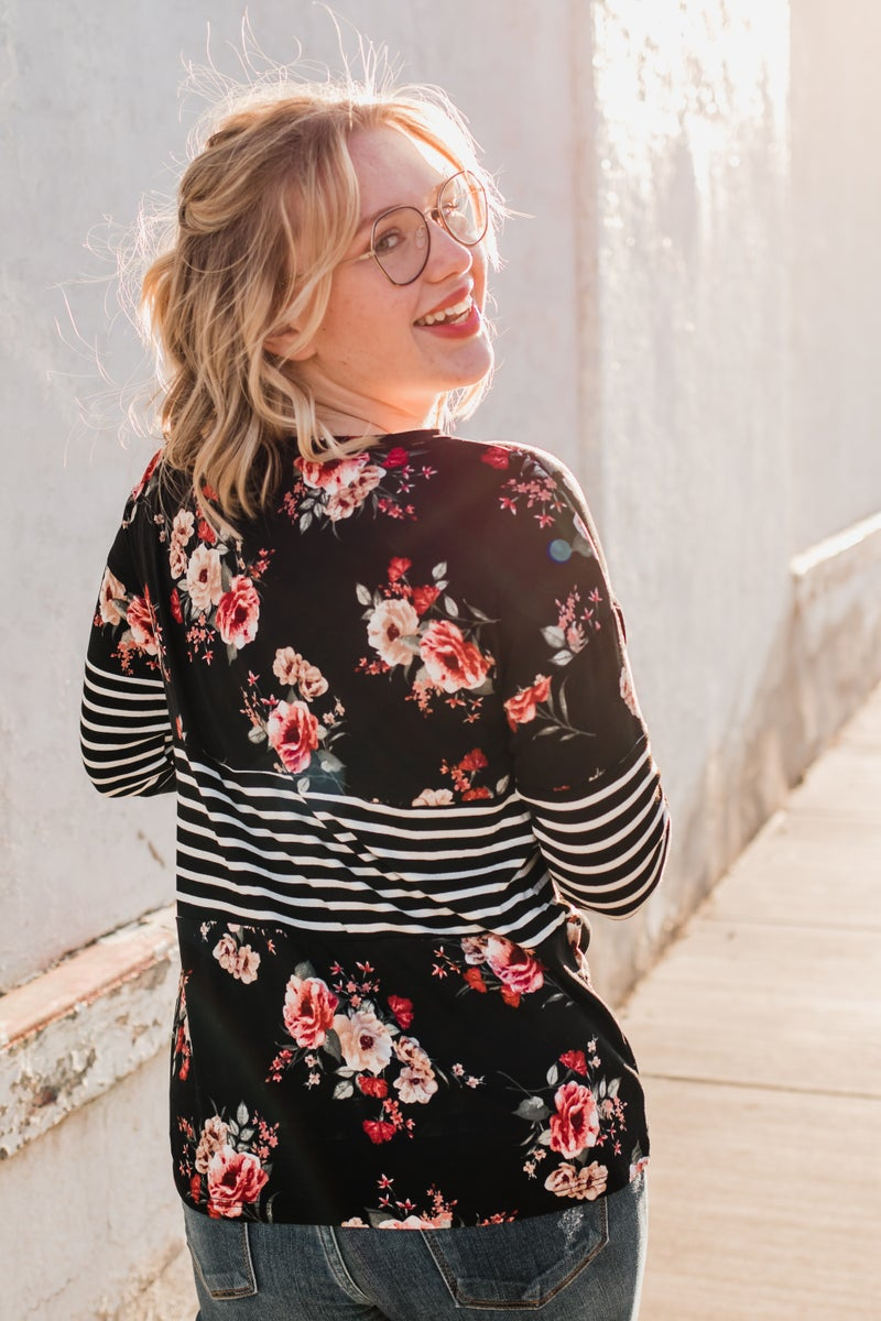 .~Floral & Striped Color Block Top