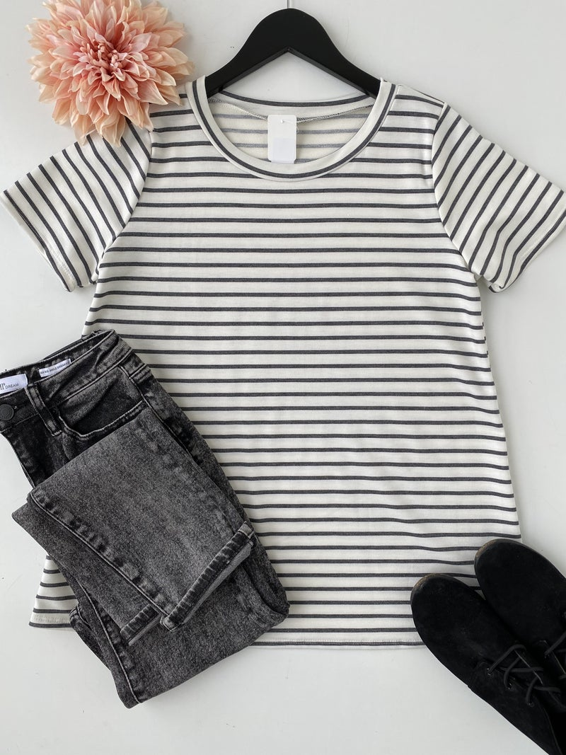 ~Charcoal Striped Top