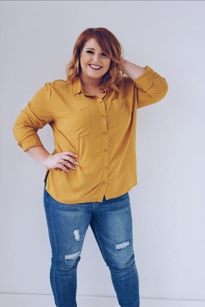 Plus Solid Button-Up Top