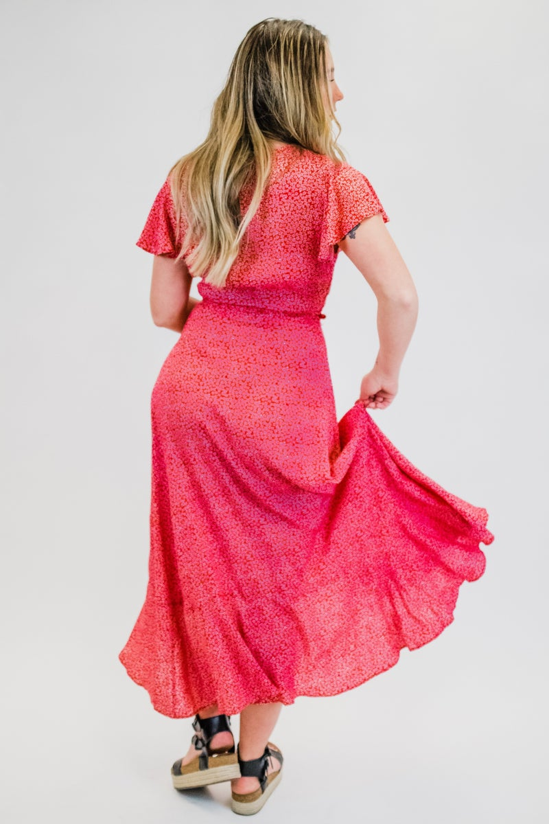 Red Floral Dress w/ Tie