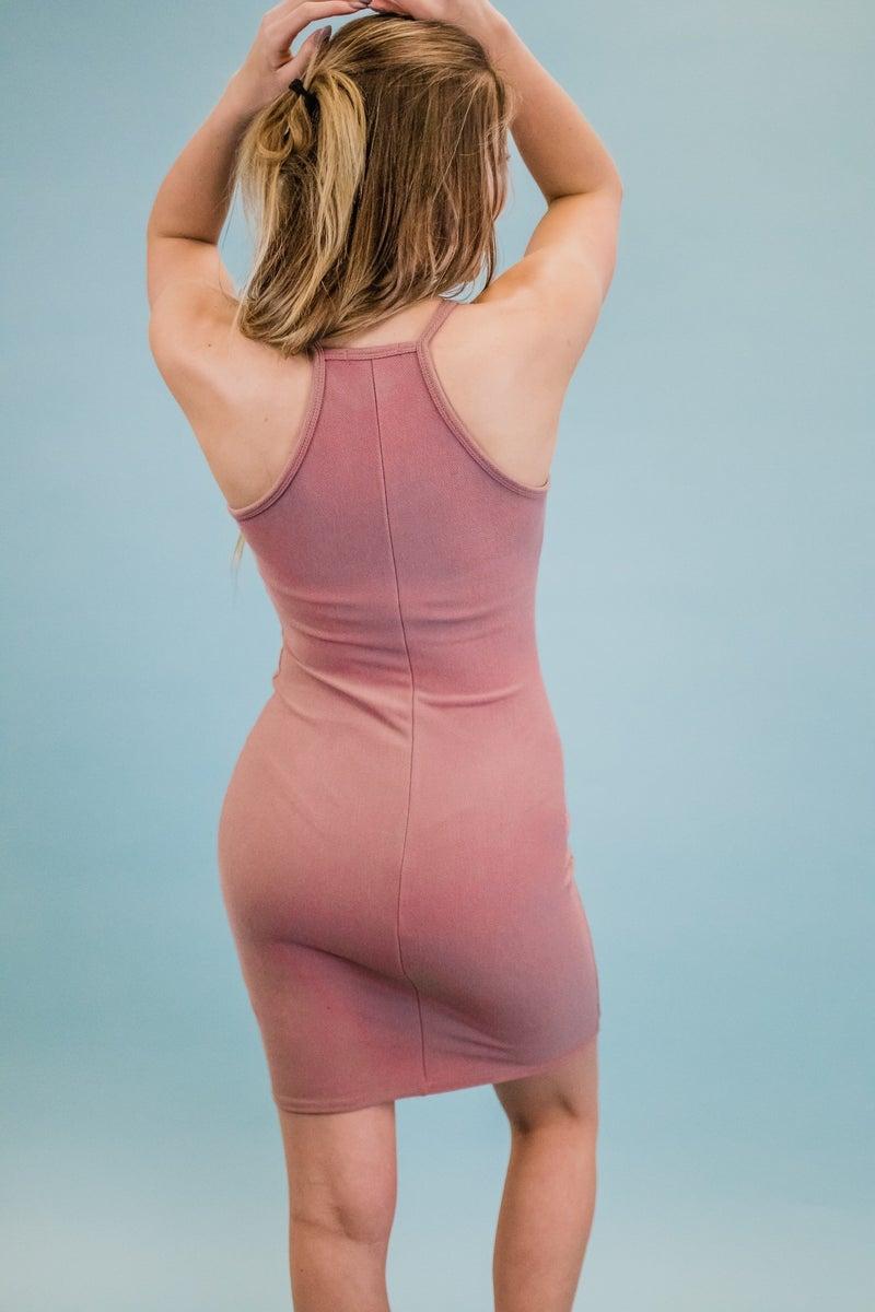 Solid Knit Sleeveless Dress