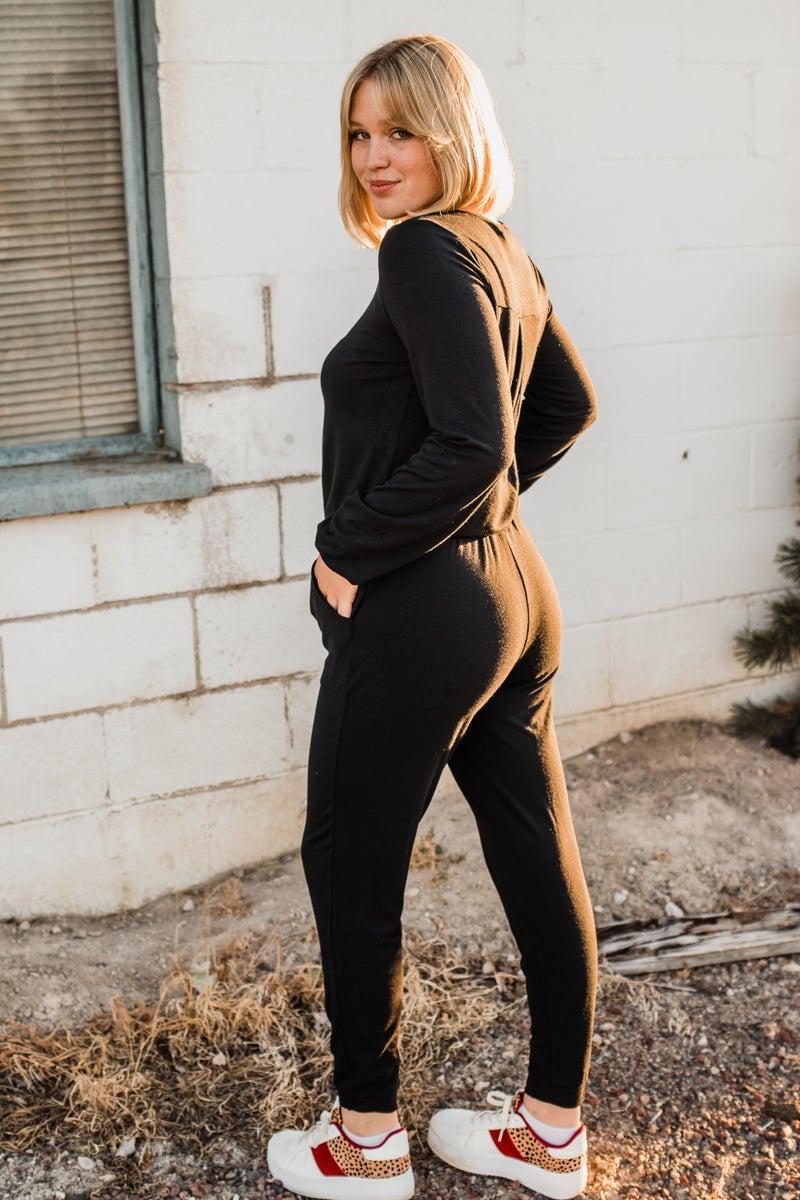 *Erin's Closet* Black Long Sleeve Jogger Jumpsuit