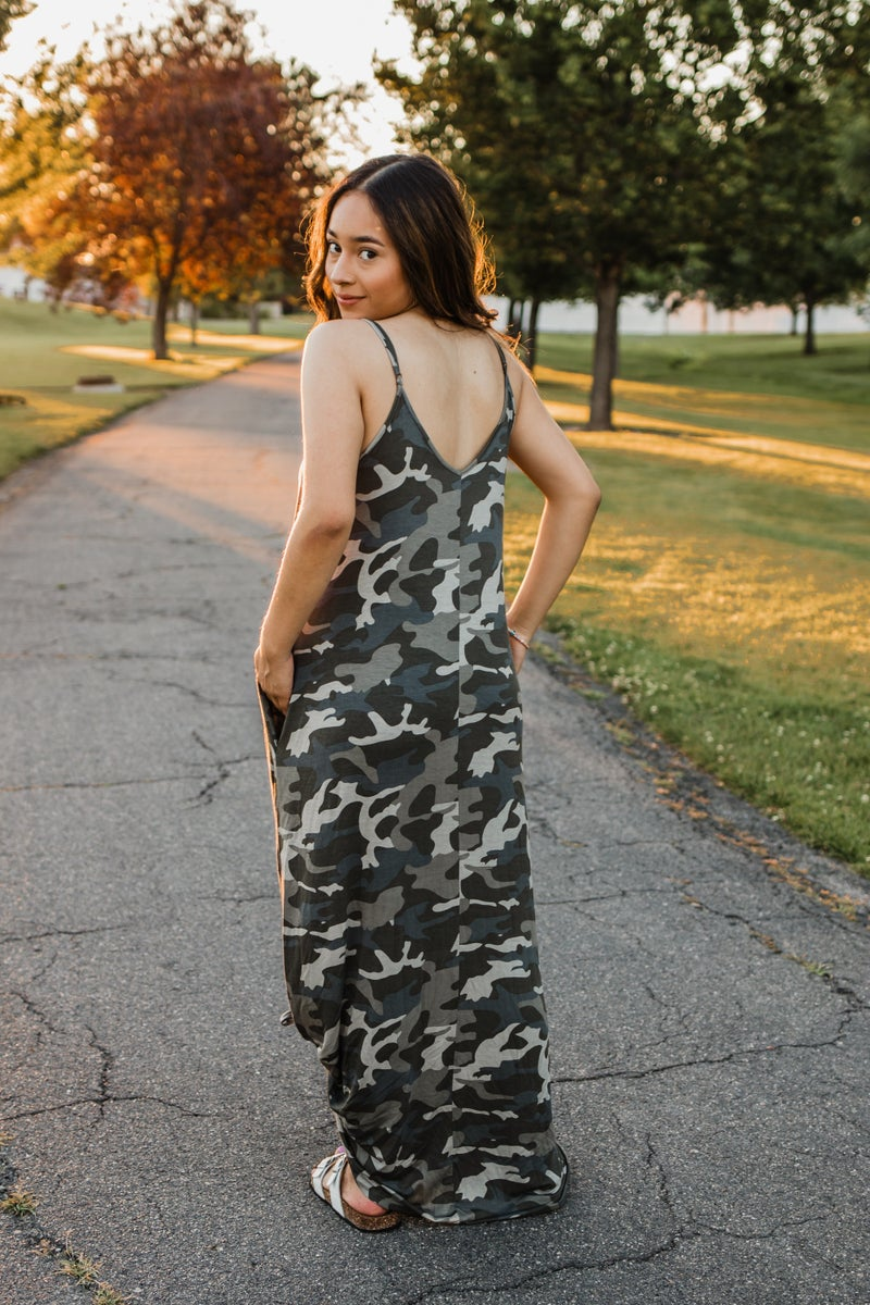 Camo Cami Maxi Dress
