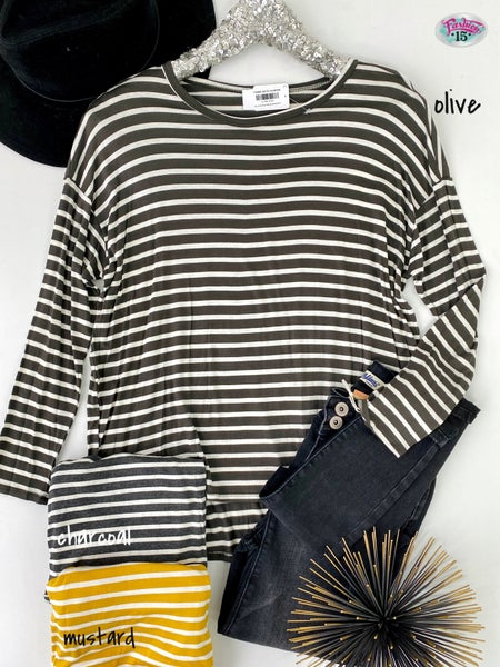 .Long Sleeve Striped Boyfriend Top