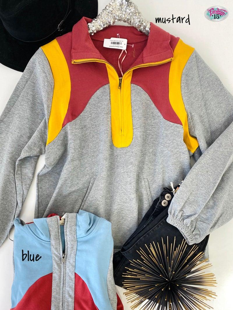 .Color Block Pullover