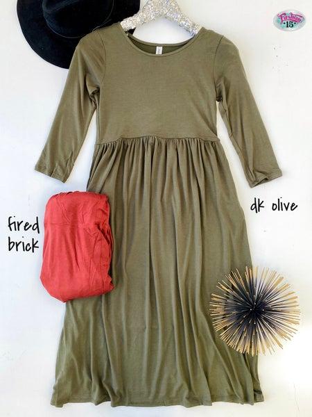 ~.3/4 Sleeve Round Neck Dress *Final Sale*
