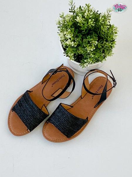 Black Wide Strap Sandal w/ Buckle