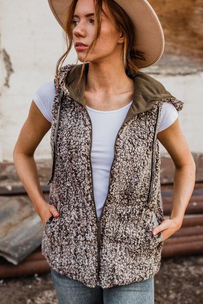 Super Soft Grey & Mocha Sherpa Vest