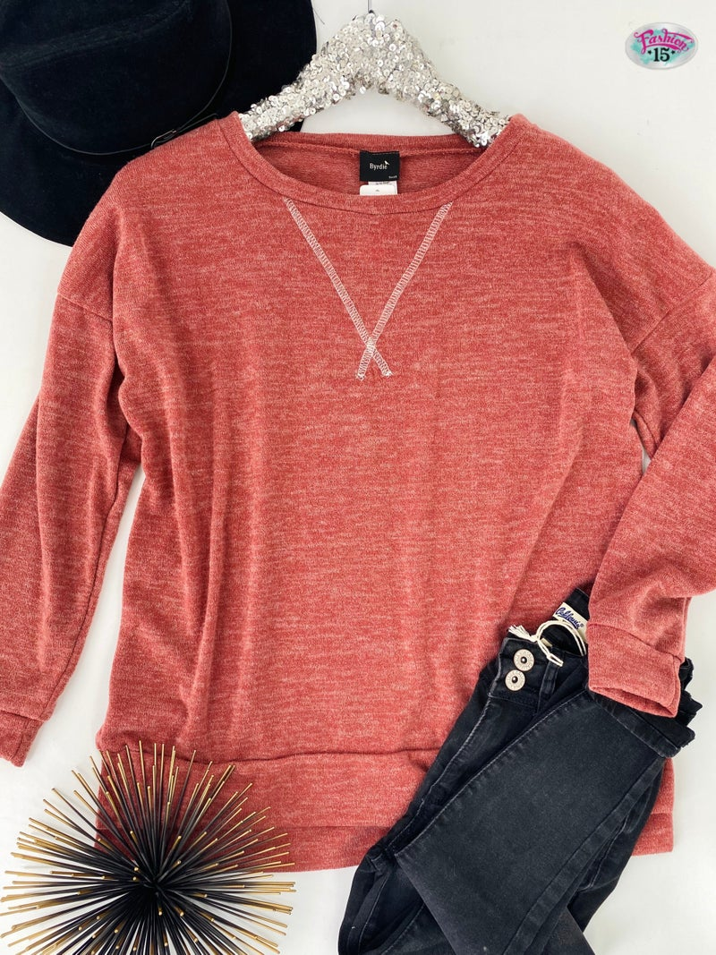 .Rust Knit Top