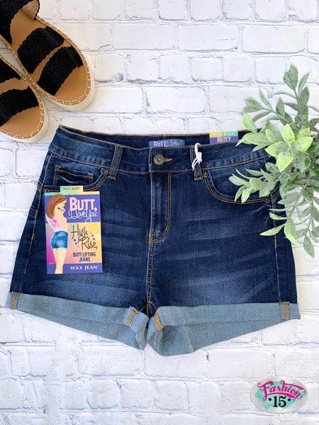 Dark Wash Cuffed Shorts