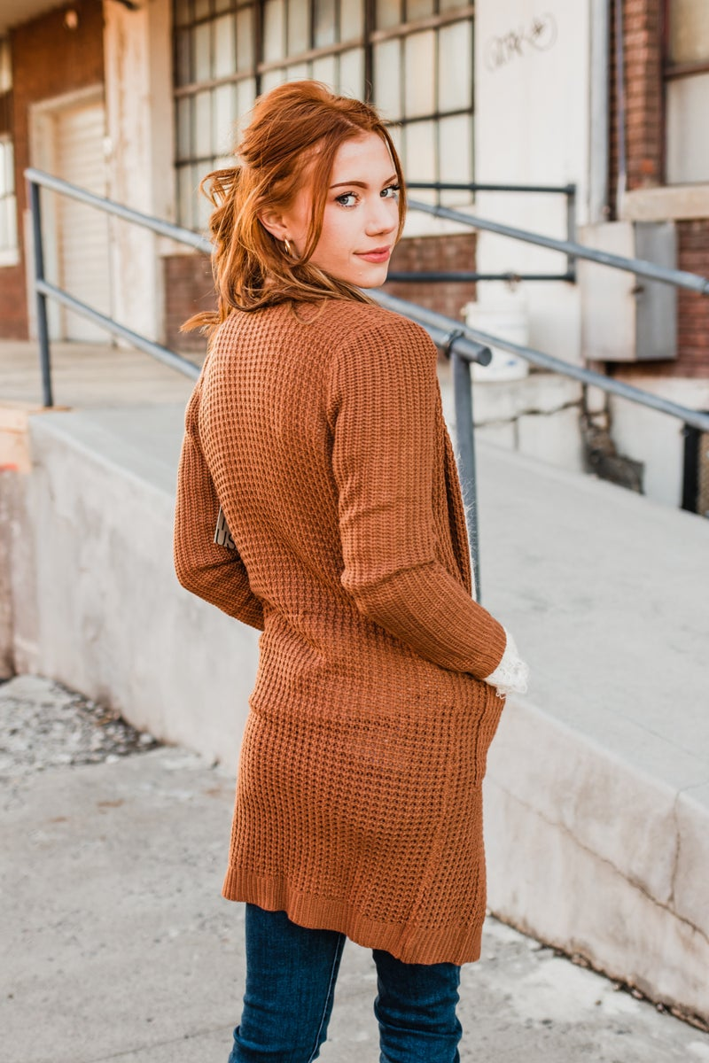 .Solid Waffle Knit Cardigan