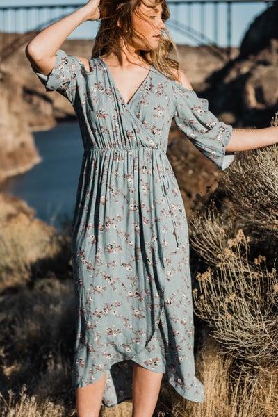 Blue Floral Cold Shoulder Maxi Dress *Final Sale*