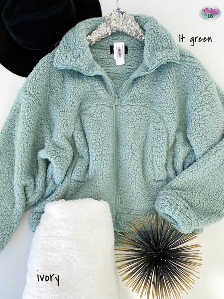 .Super Soft Sherpa Jacket w/ Drawstring Hem