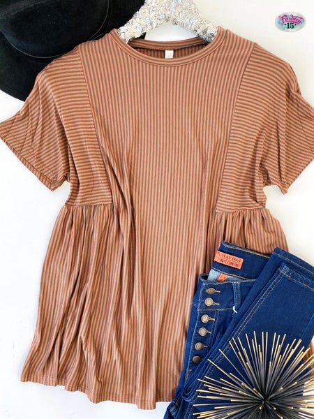 .Rust & Olive Striped Top