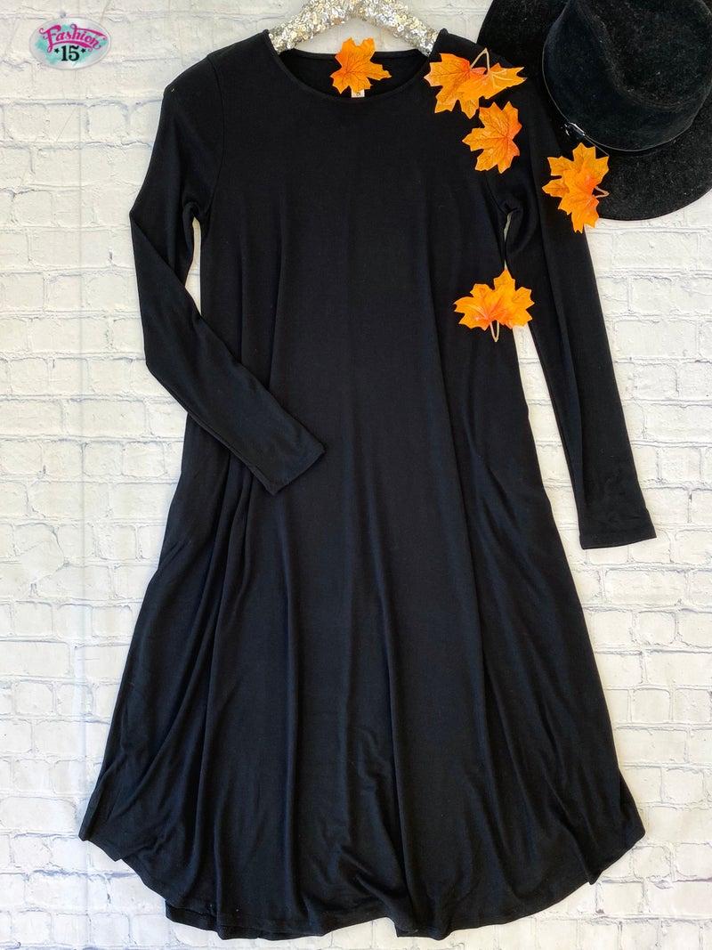 Black Long Sleeve Dress w/ Pockets