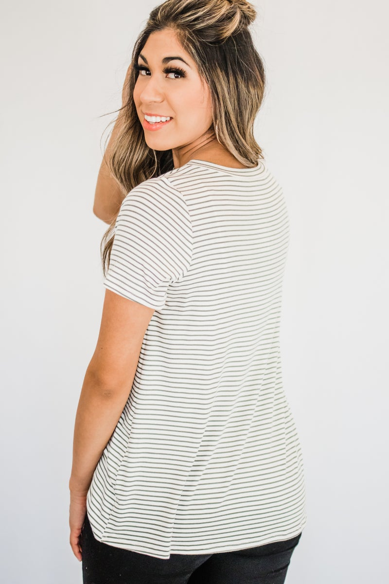 ~Olive Striped Top
