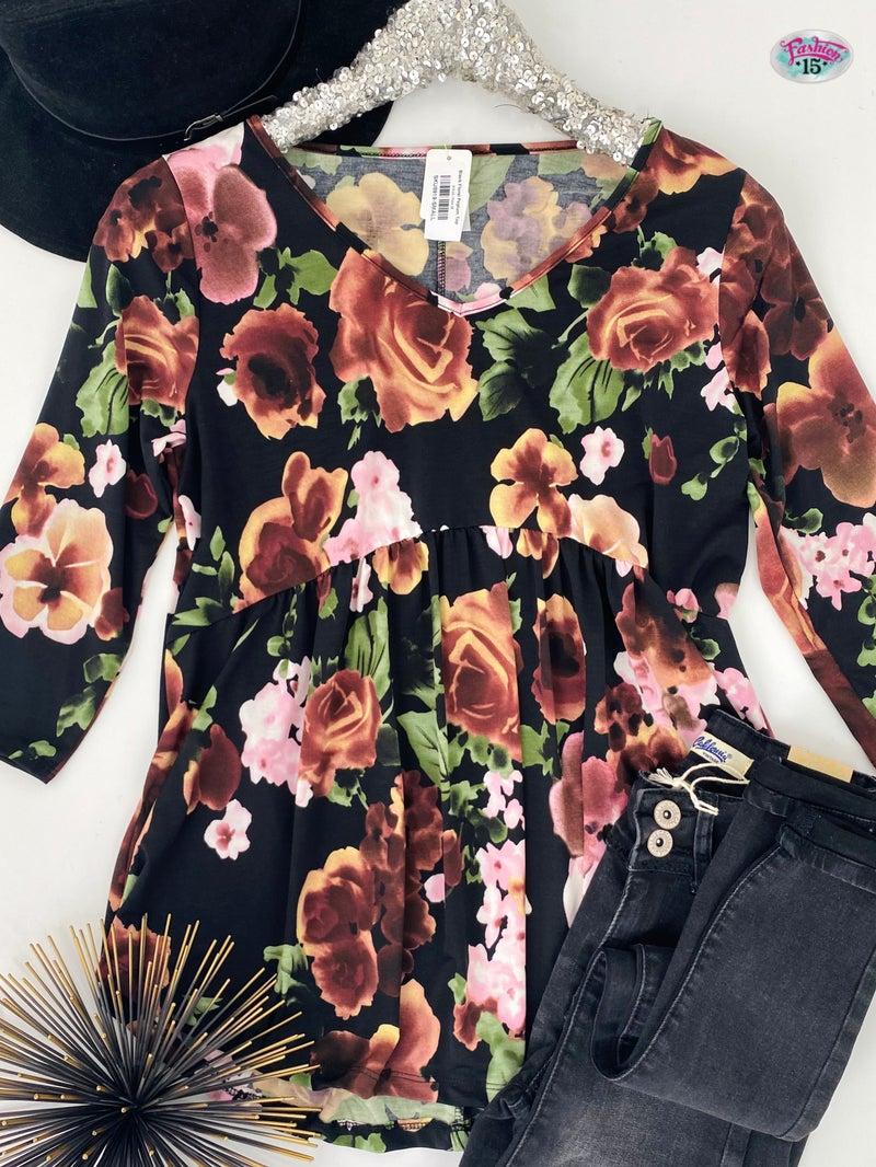 .Black Floral Peplum Top