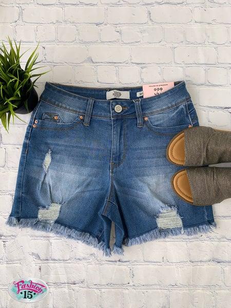 Medium Wash Mid Rise Distressed Shorts