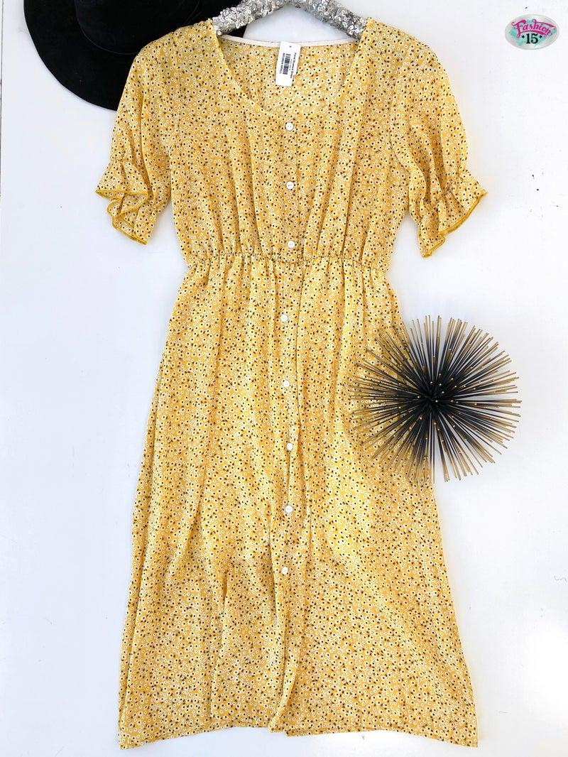 .Floral Mustard Dress