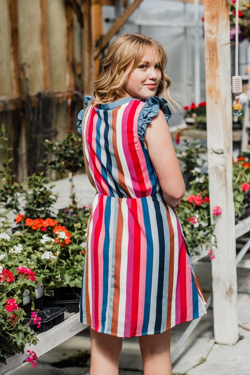 *Erin's Closet* Colorful Striped Midi Dress