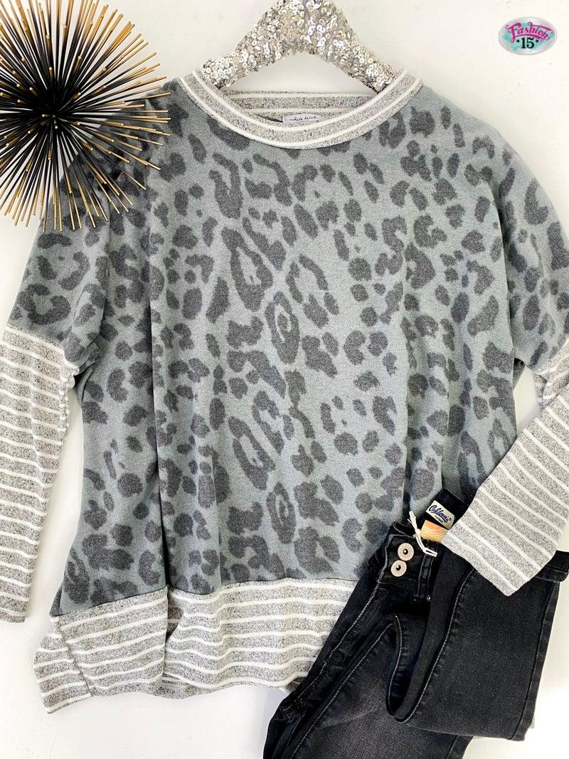 ~.Grey Animal Print Top w/ Stripes