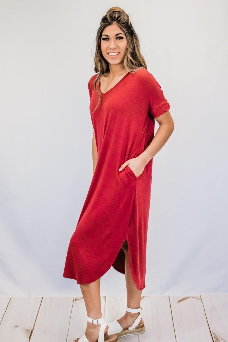 ~Brick V-Neck Dress w/ Pockets