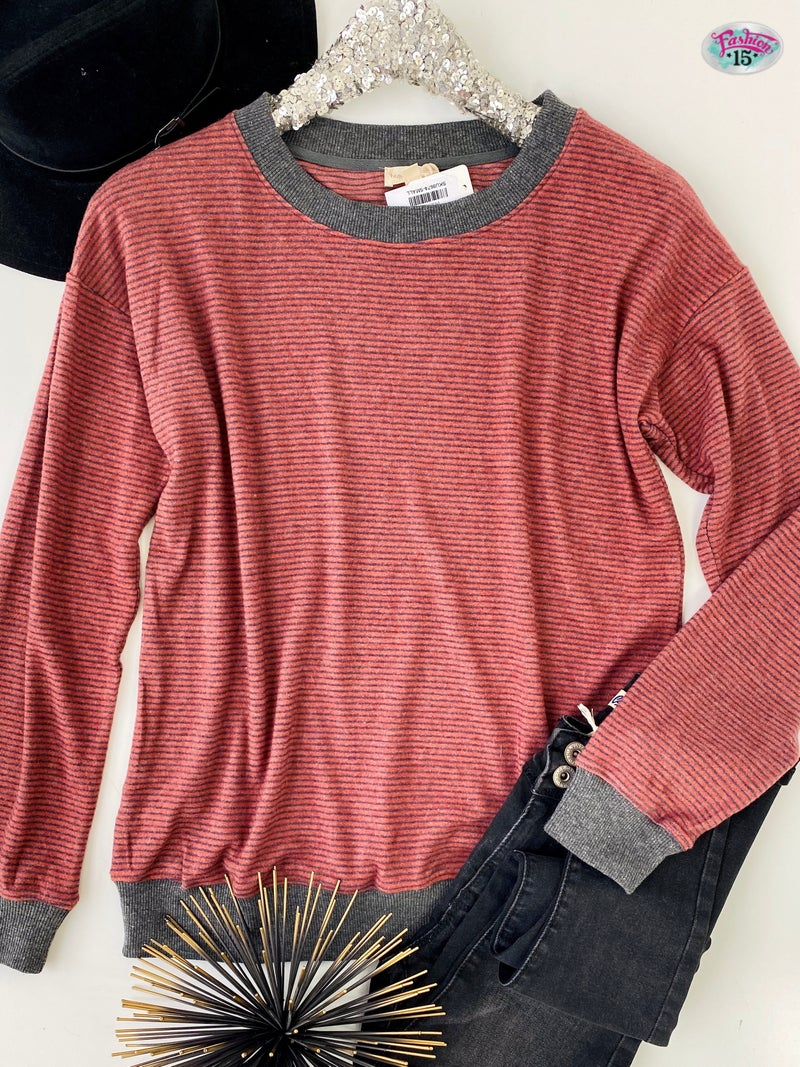 .Brick & Charcoal Striped Sweater