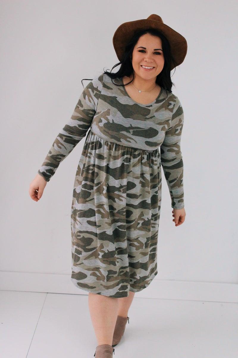 Long Sleeve Camo Dress