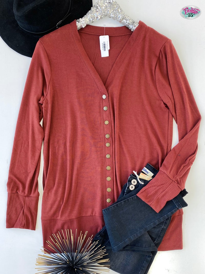 Plus Snap Button Cardigan w/ Pockets *Final Sale*