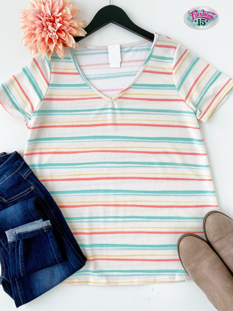 ~Ivory Striped Top