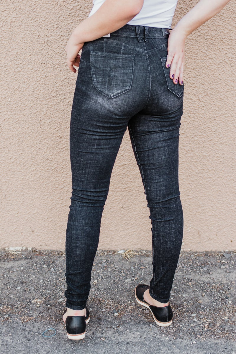 Black High Rise Skinny Denim