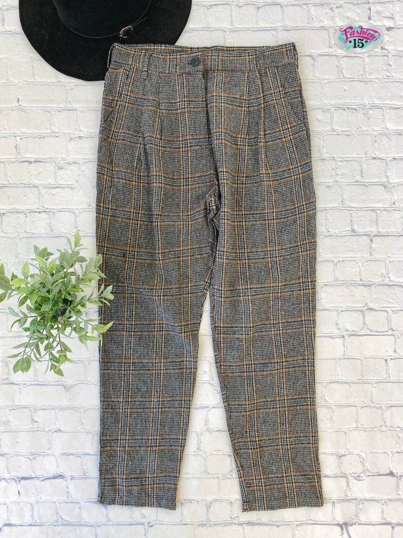 Black & Rust Striped Pants