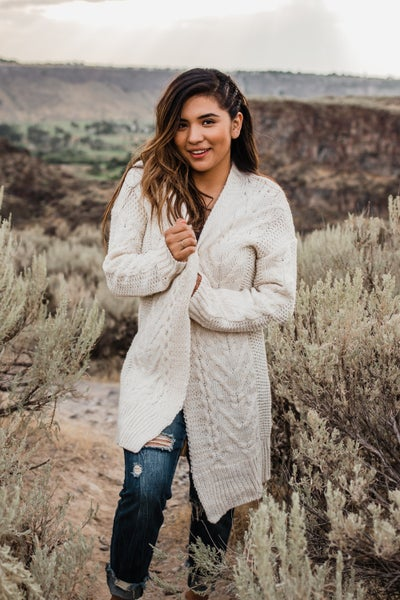 *Erin's Closet* Ivory Cable Knit Duster