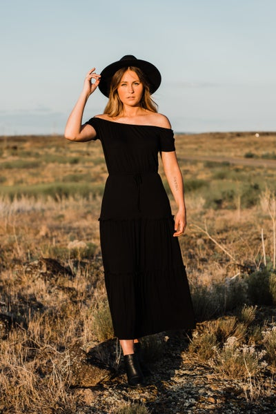 Black Midi Dress w/ Tie Detail