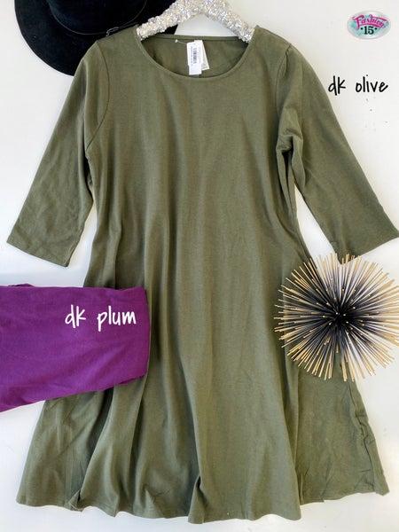 .Plus 3/4 Sleeve Classic A-line Dress *Final Sale*