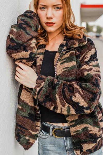 *Erin's Closet* Sherpa Camo Jacket