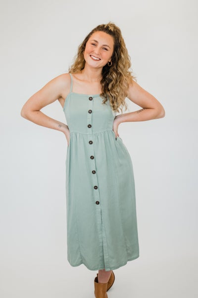 Sleeveless Dress w/ Buttons