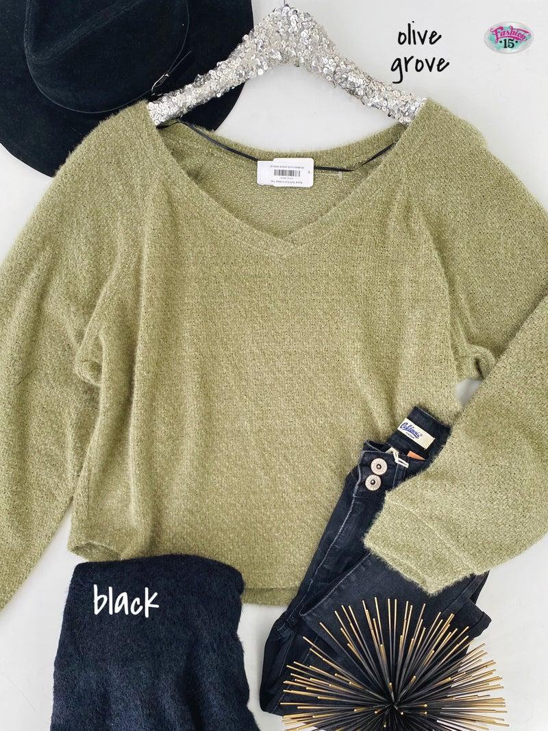 .Super Soft Knit V-Neck Top