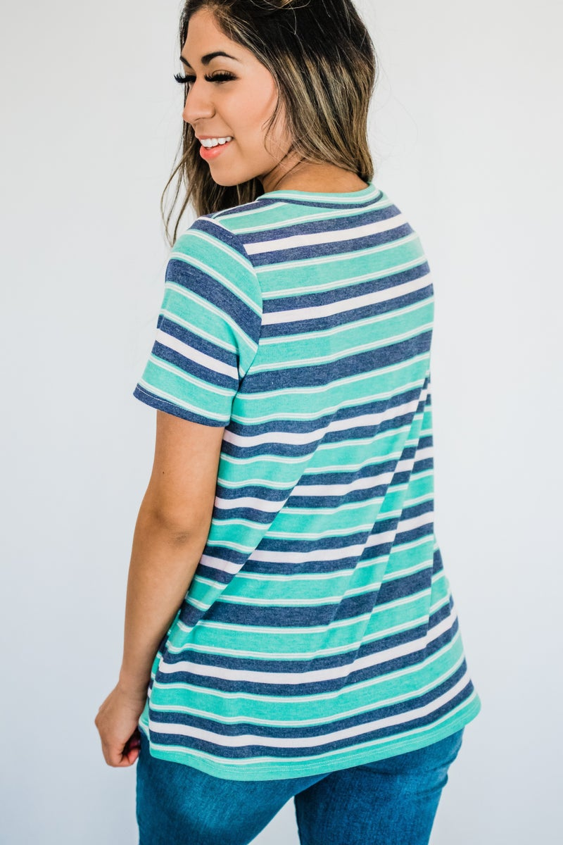 ~Turquoise & Blue Striped Top