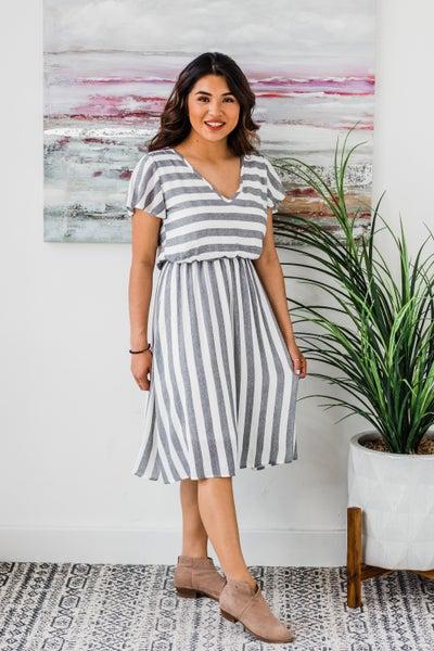*Erin's Closet* Black & Ivory Striped Dress