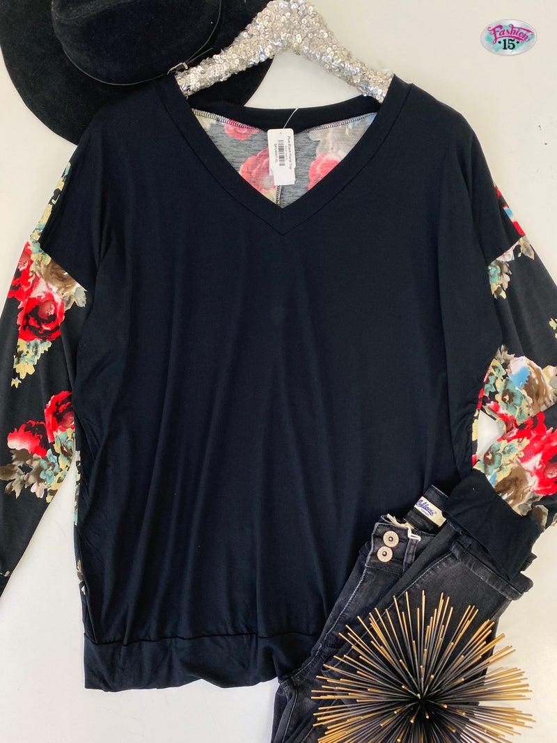 Plus Black Floral Top