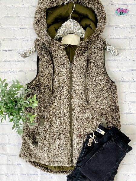 .Super Soft Olive Sherpa Vest *Final Sale*