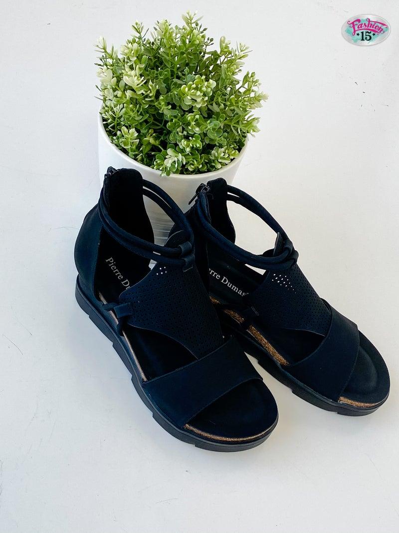 Black Strappy Zipper Sandals