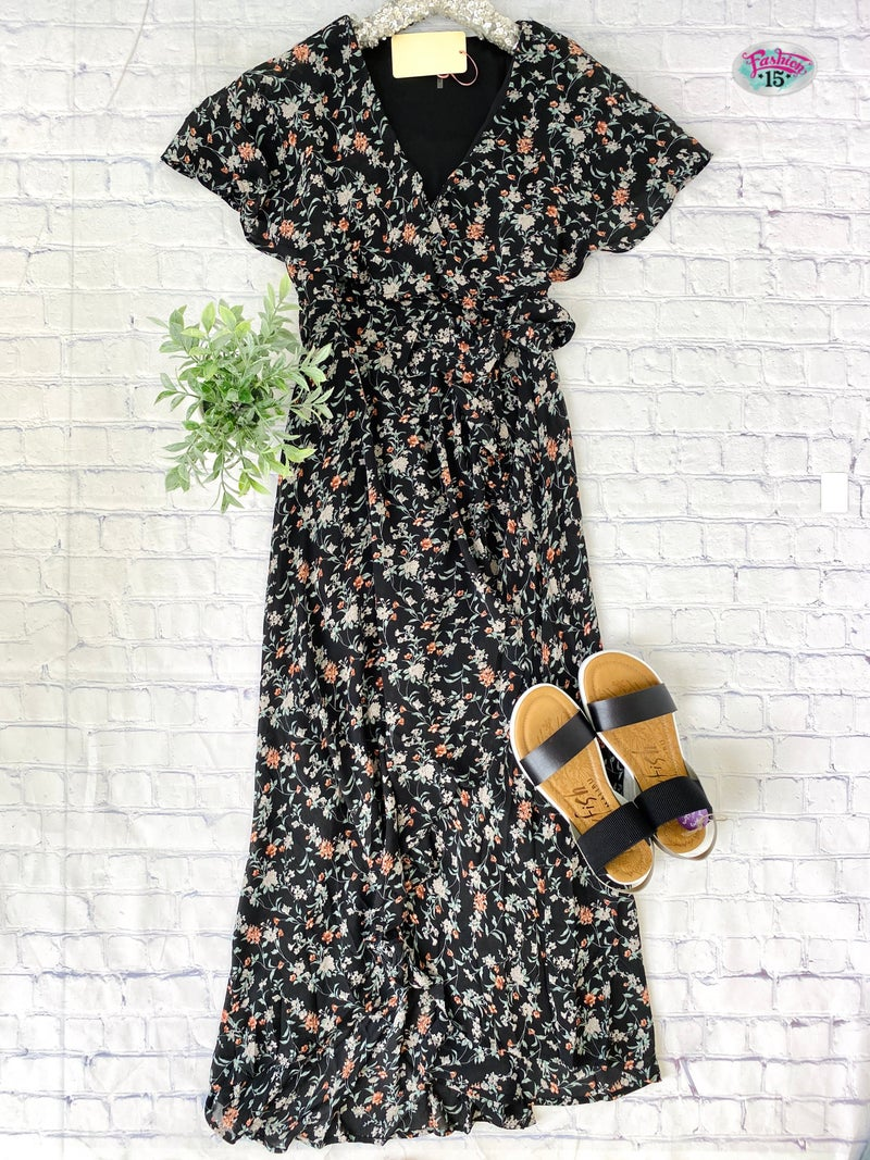Black Floral Wrap Dress w/ Hi-Low Hem