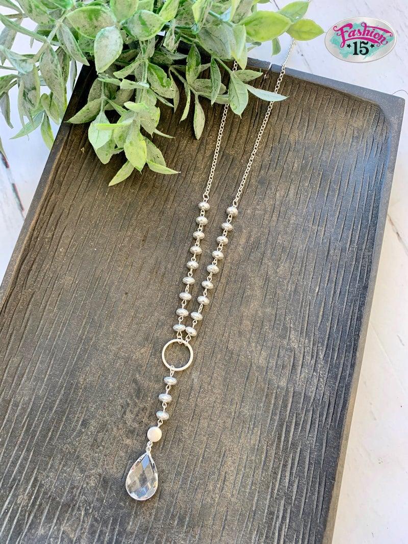 Silver Necklace w/ Gem